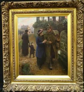 Large English Circa 1918 WWI Return Home From War Scene