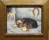19th Century English Yorkshire Terrier Dog Sleeping