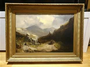 Large 19th Century Welsh Valley Landscape Horse Cart