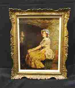 19th Century English Weary Maid Interior Portrait by