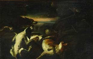 Fine Large 17th Century Dutch Old Master Hounds Hunting