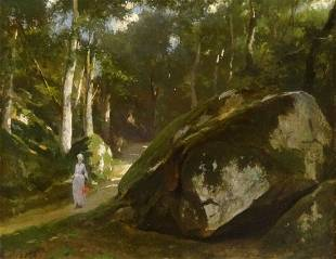 19th Century French Impressionist Lady Forest Landscape