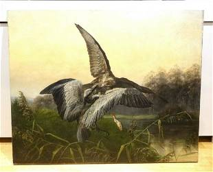 Large 19th Century Hawk Attacking A Heron