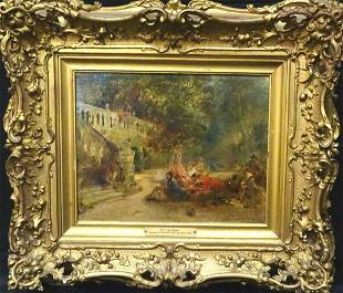 19th Century English Courtyard Ladies Scene Find the