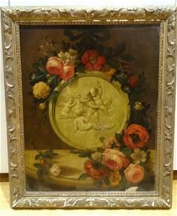 18th Century Dutch Italian Flowers Still Life Marble
