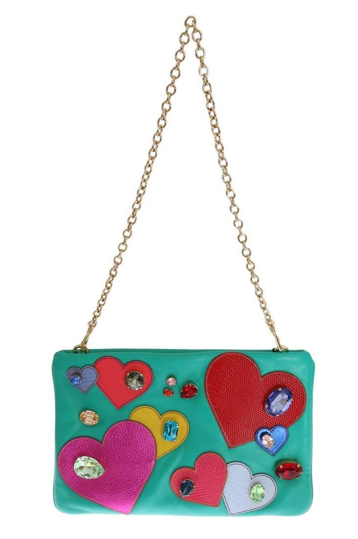 DOLCE & GABBANA BLUE LEATHER HEART CRYSTAL CLUTCH BAG