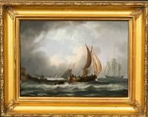 19th Century British Man O War Ship Off The French