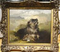 Large 19th Century Terrier Dog Portrait & Dead Rabbit