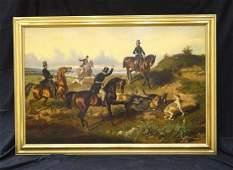 Huge 19th Century Hounds  Horses Fox Hunt Landscape