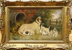 Fine 19th Century Great Dane Dog Mother & Puppies