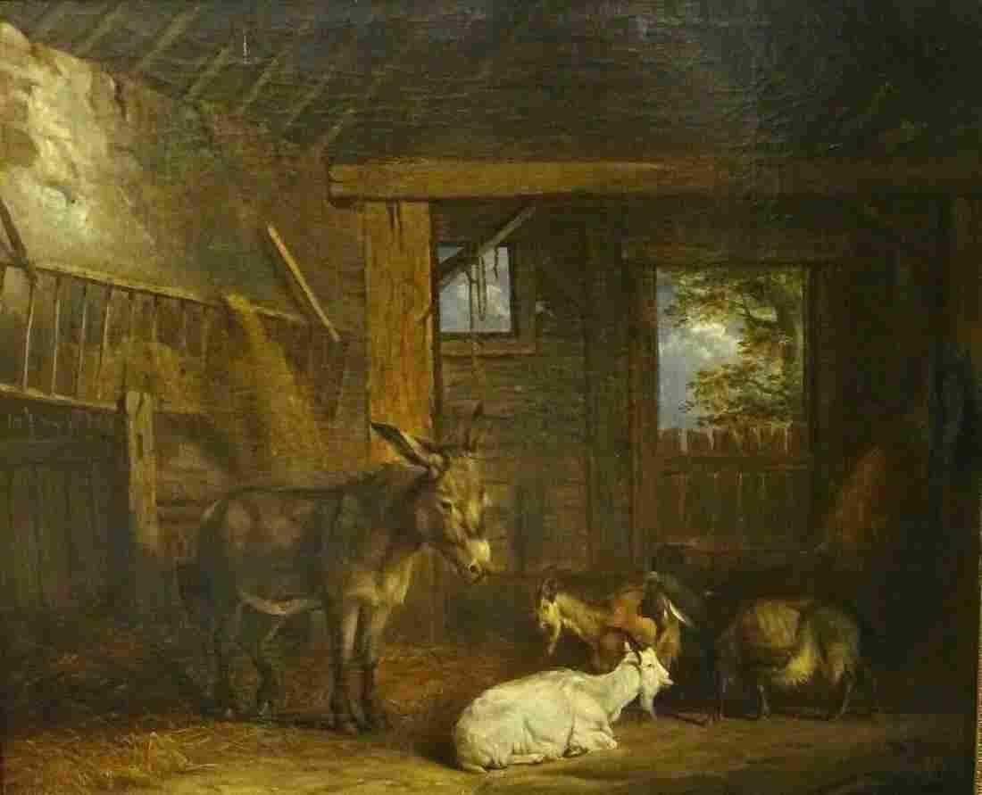 Large 19th Century Donkey & Goats Barn Interior Farm