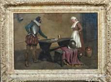 Spanish Soldier & Maid Tavern Interior Scene Antique