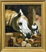 Portrait White Horse Head & Bird