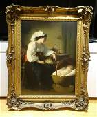 Mother & Sleeping Baby Antique Oil Painting