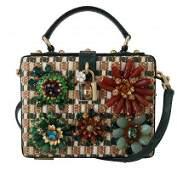 Green Python Crystal Raffia Leather BOX HandBag
