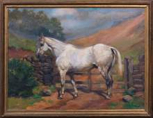Dapple Grey Horse By A Gate Landscape Oil Painting