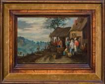 Peasants Street Scene Landscape