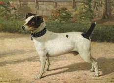 Jack Russell Terrier Dog Portrait Antique Oil Painting