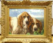 Portrait Of Two Bloodhound Dogs Antique Oil Painting