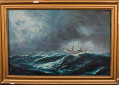 Large 19th Century English Ship In A Storm Seascape