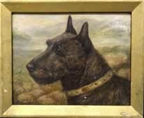 Terrier Dog Head Portrait Antique Oil Painting
