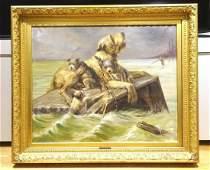 Wolfhound & Puppies Flood Dog Painting