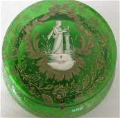 BOHEMIAN MARY GREGORY GREEN GLASS DRESSER TRINKET WITH
