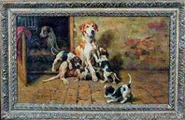 Foxhound Dog Mother & Puppies by John Emms (1844-1912)