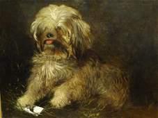 Terrier Dog Portrait Antique Oil Painting