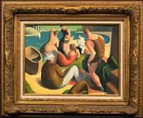 Beach Bathers Oil Painting