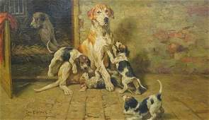 Foxhound Dog Mother & Puppies Oil Painting