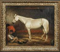 Portrait of A White Horse In Stable With Groom Oil
