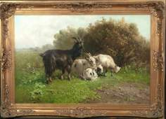 Goats and Kid Landscape Oil Painting