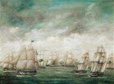 Navy Fleet Ships Off Hong Kong Oil Painting