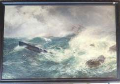 Shipwreck On The Rocks Oil Painting