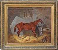 Hunter Horse & Stable Boy Oil Painting