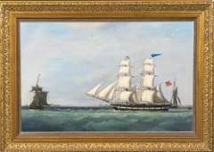 Royal Navy Frigate Harbour Oil Painting
