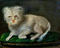 Portrait of A White Terrier Dog II Oil Painting