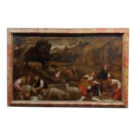Sheep Shearing Oil Painting