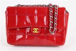 Chanel Red Patent Mini Classic Flap Silver Chain Bag