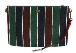 Multicolor Striped Linen Leather Organizer Hand Bag