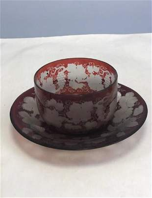 Name: Bohemian ruby engraved bowl and stand Size: 8 x