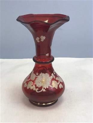 Name: Bohemian ruby enamel vase Size: 22 cm