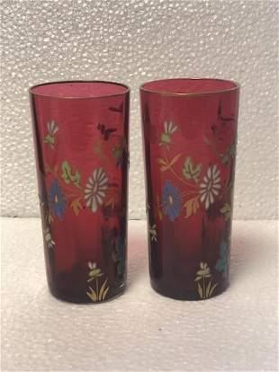 Name: Pair of bohemian enamel glass beakers