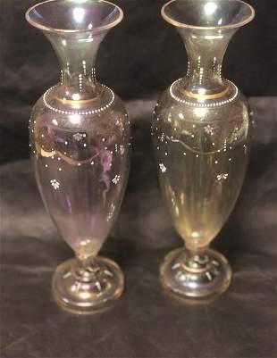 Name: Pair of bohemian enamel vases