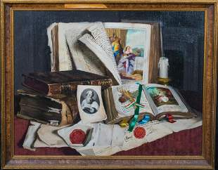 Still Life Antique Books & Papers Oil Painting