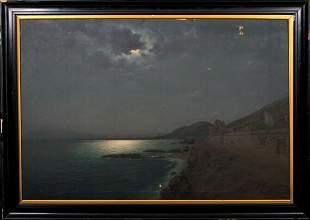 Moonlit Coastal Landscape Oil Painting