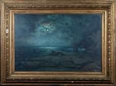 Moonlit Rocky Coastal Beach Seascape Oil Painting