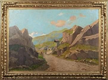 Mountain Alps Shrine Alpine Landscape Oil Painting