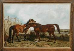 Two Horse By A Fence Landscape Oil Painting
